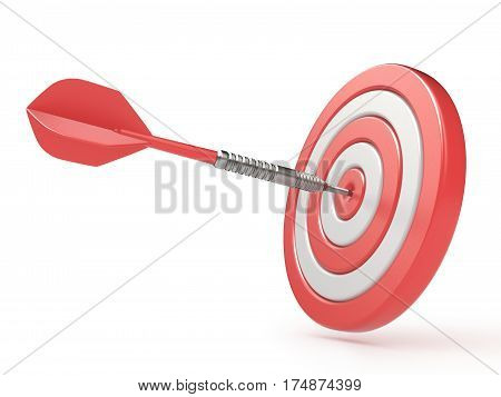 Red Target And Dart Hitting Center. 3D