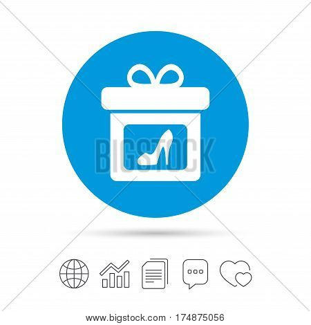 Gift box sign icon. Present with woman shoes symbol. Copy files, chat speech bubble and chart web icons. Vector