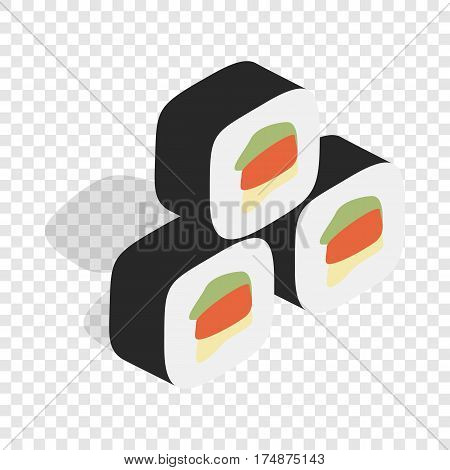 Korean traditional food kimbap isometric icon 3d on a transparent background vector illustration