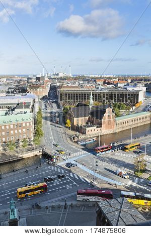 Buses Near Christiansborg Palace In Copenhagen, Denmark, Editorial