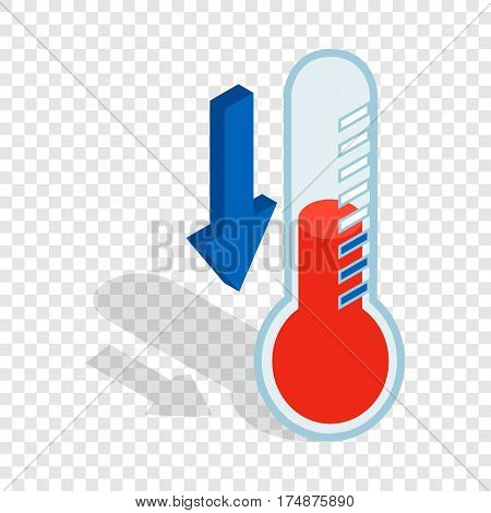 Thermometer with low temperature isometric icon 3d on a transparent background vector illustration