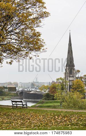 St. Alban's Church And Park In Copenhagen, Denmark