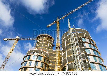 Axel Towers Construction Site In Copenhagen, Denmark