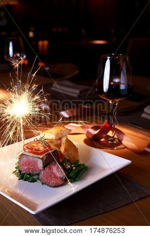 Beefsteak With Red Wine For Christmas Night