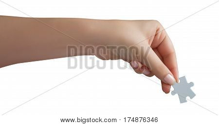Human Hand Holding PuzzleI. Isolated on white
