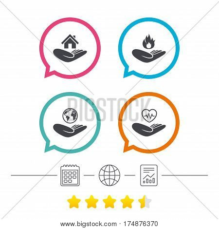 Helping hands icons. Health and travel trip insurance symbols. Home house or real estate sign. Fire protection. Calendar, internet globe and report linear icons. Star vote ranking. Vector