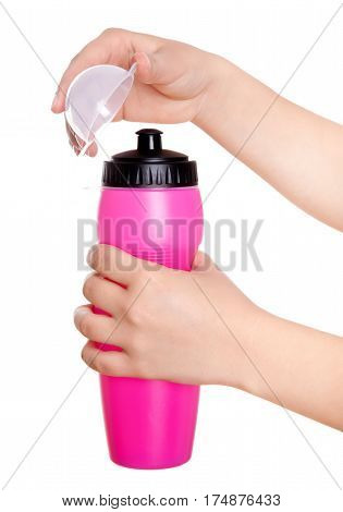 Partial View Of Man Holding Sport Bottle Of Water On White