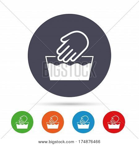 Hand wash sign icon. Not machine washable symbol. Round colourful buttons with flat icons. Vector