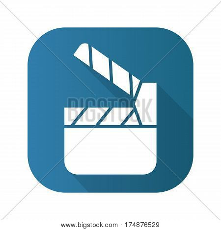 Movie clapperboard flat design long shadow icon. Vector silhouette symbol