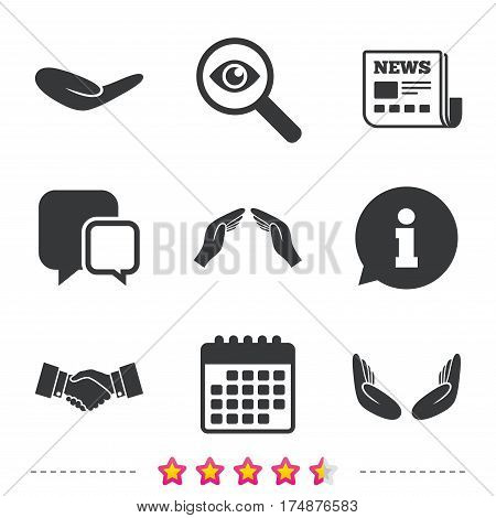 Hand icons. Handshake successful business symbol. Insurance protection sign. Human helping donation hand. Prayer meditation hands. Newspaper, information and calendar icons. Vector