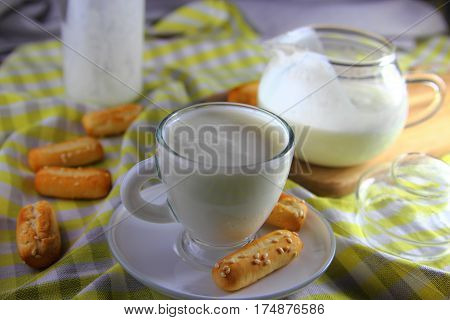 kefir  in a Cup with white bread. healthy Breakfast