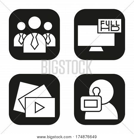 Filming icons set. Men in ties, video play button, Full HD television, videographer symbol. Vector white silhouettes illustrations in black squares