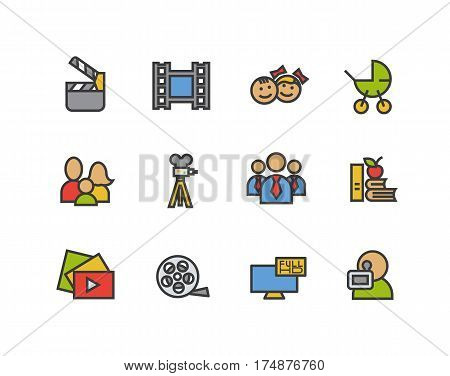 Filming color icons set. Movie clapperboard, video film, play button, videographer, children. Logo concepts. Vector isolated illustration