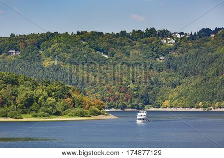 Tourist Boat On Rursee, Germany