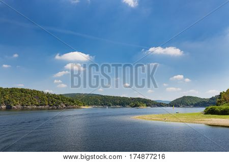 View Along Rursee In Summer, Germany