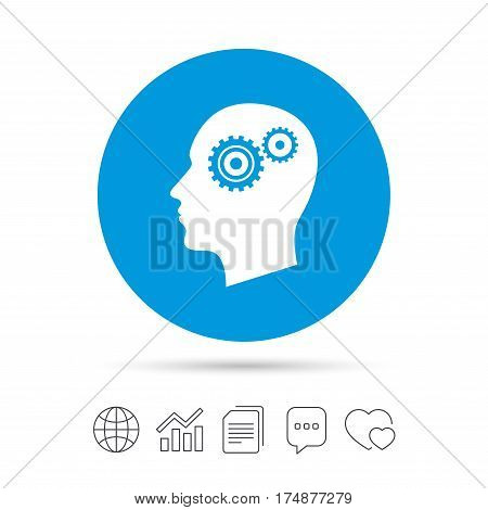 Head with gears sign icon. Male human head symbol. Copy files, chat speech bubble and chart web icons. Vector