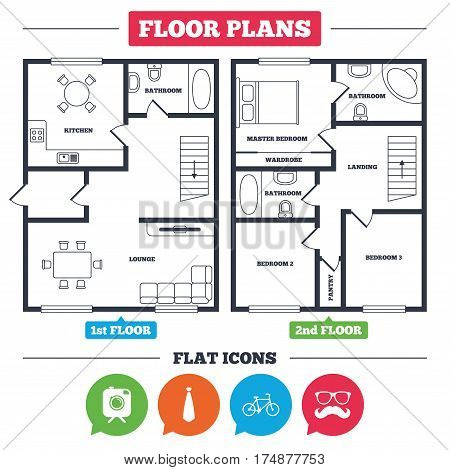 Architecture plan with furniture. House floor plan. Hipster photo camera with mustache icon. Glasses and tie symbols. Bicycle family vehicle sign. Kitchen, lounge and bathroom. Vector