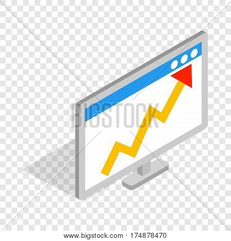 Graph on the computer monitor isometric icon 3d on a transparent background vector illustration