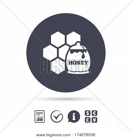 Honey in pot and honeycomb sign icon. Honey cells symbol. Sweet natural food. Report document, information and check tick icons. Currency exchange. Vector