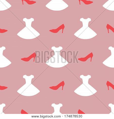 Silhouette of stilettos and dresses. Colorful seamless pattern. The design of women's clothing. Vector illustration. Purple pink white.
