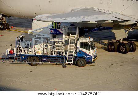 Thai People Fill The Gas Tank Of Aircraft
