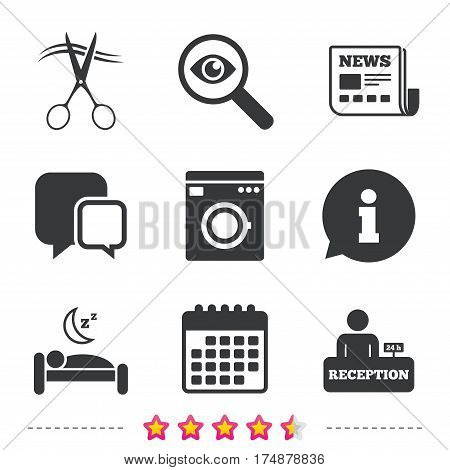 Hotel services icons. Washing machine or laundry sign. Hairdresser or barbershop symbol. Reception registration table. Quiet sleep. Newspaper, information and calendar icons. Vector