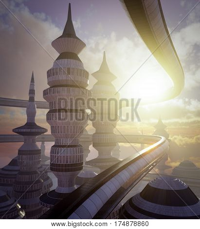 aerial view of Science Fiction City with clouds and sun