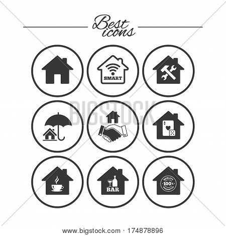 Real estate icons. House insurance, broker and casino with bar signs. Handshake deal, coffee and smart house symbols. Classic simple flat icons. Vector