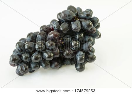 Bunch of black seedless grapes (Vitis vinifera) with water drops on a white background