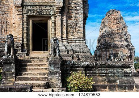 East Mebon temple ruins at Angkor wat complex, Cambodia