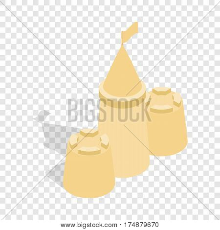 Sandcastle isometric icon 3d on a transparent background vector illustration