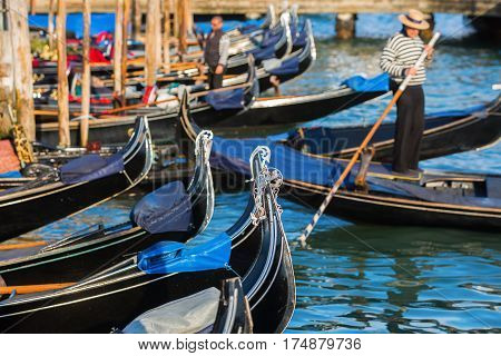 Gondolas At A Canal In Venice