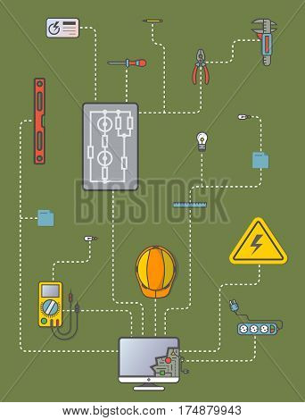 Electricity engineering infographic vector illustration. Electrician professional instrument, construction and management. Safety helmet, multimeter, electronic circuit, spirit level, power strip