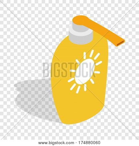 Bottle of suntan cream isometric icon 3d on a transparent background vector illustration