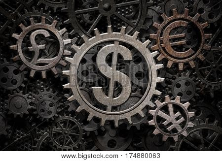 main currencies working gears 3d illustration