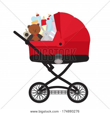 Red child carriage with baby accessories isolated on white background vector illustration. Kids market, baby store concept. Baby care product, equipment for newborn, toys, children bottle.