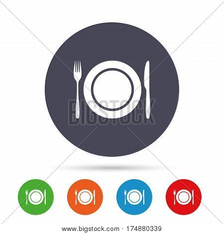 Plate dish with fork and knife. Eat sign icon. Cutlery etiquette rules symbol. Round colourful buttons with flat icons. Vector