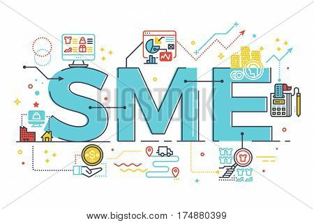 Sme, Small And Medium Enterprise, Word Lettering Illustration