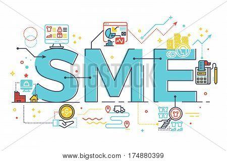 Sme, Small And Medium Enterprise, Word Lettering Illustration