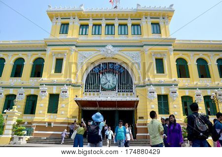 People Travel At Ho Chi Minh Central Post Office