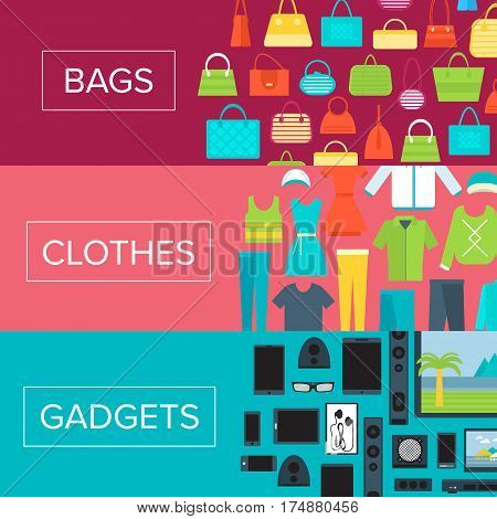 Shopping mall flyers set in flat design vector illustration. Store concept with clothes, electronic gadgets and bags. Shopping advertising, mall coupon design, retail promotion, signboard template