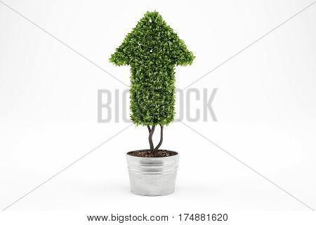 Plant that grows like an arrow . 3D Rendering. Growing the economy company concept