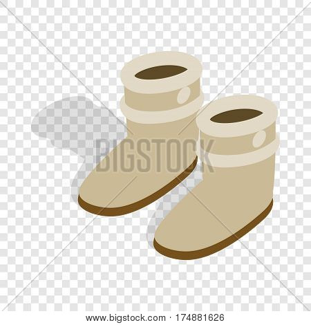 Pair of winter shoes isometric icon 3d on a transparent background vector illustration