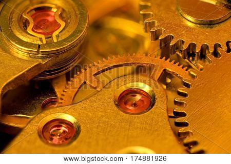 Extreme close up shot of watch mechanism