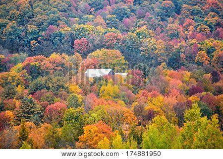 Autumn landscape in rural Vermont