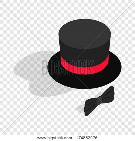 Black top hat and bow tie isometric icon 3d on a transparent background vector illustration