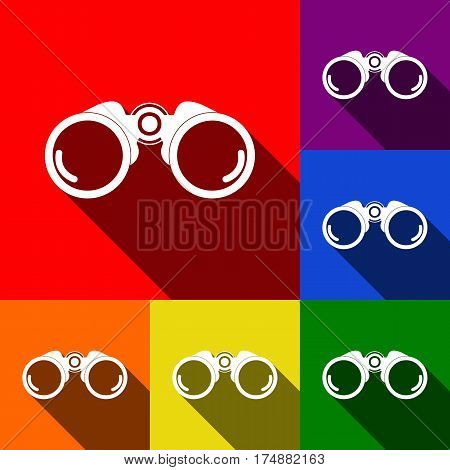 Binocular sign illustration. Vector. Set of icons with flat shadows at red, orange, yellow, green, blue and violet background.
