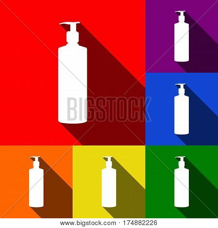 Gel, Foam Or Liquid Soap. Dispenser Pump Plastic Bottle silhouette. Vector. Set of icons with flat shadows at red, orange, yellow, green, blue and violet background.
