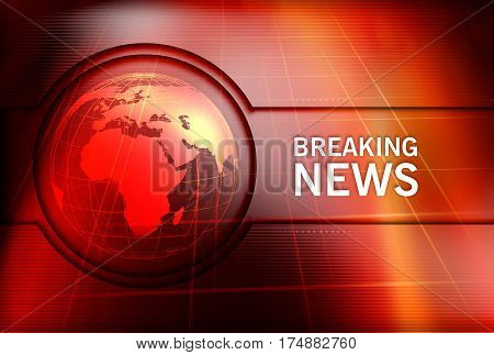 Graphical Breaking News Background with Earth Globe in Center. 3d Illustration 3d Render