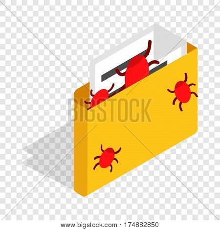 Infected email isometric icon 3d on a transparent background vector illustration